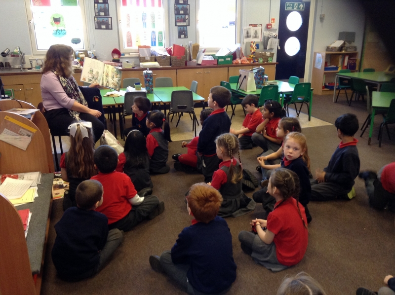 Irene from Liverpool library visited to explain about the library and read to us