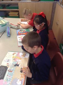 Children enjoyed some time after lunch reading for pleasure.