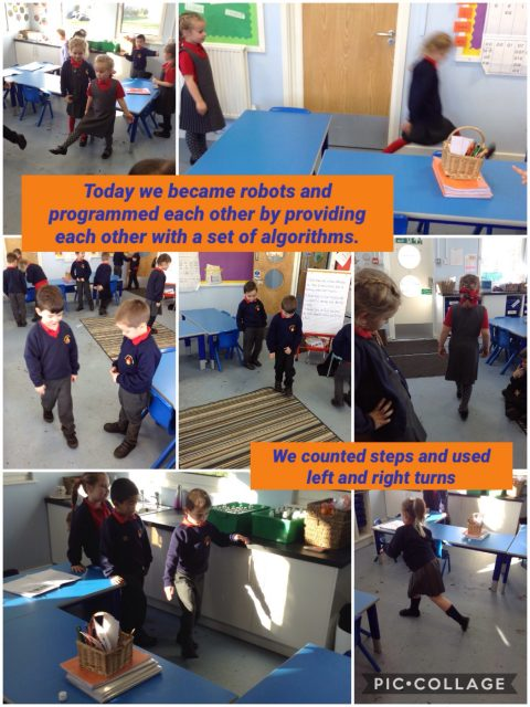 1S - 1S have been programming eachother by providing a set of algorithms to move around the classroom