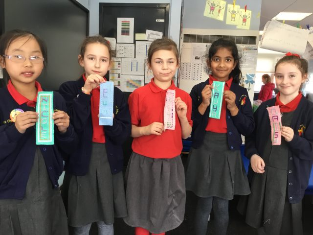Children created personalised bookmarks in Sewing Club this term.