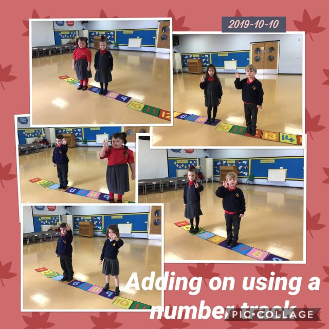 1.3 The children made their own number track, then practised adding numbers to 10 by jumping on the right amount of steps